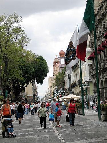 Colonial Buildings & Beautiful Cathedral In Puebla Mexico