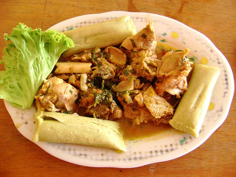Goat with tamales (photo by Dtarazona courtesy of Wikimedia)
