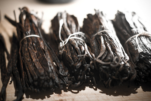 Vanilla pods awaiting extraction (photo by llahbocaj courtesy of Flickr)