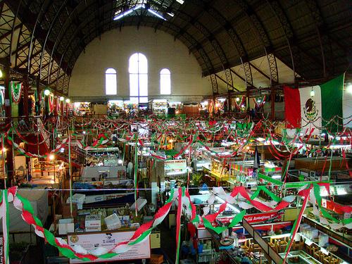 Colorful & Patriotic Mercado In Hidalgo, Guanajuato