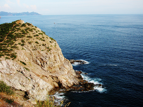 Exquisite Blue Ocean & Cactus-Filled Hills & Cliffs at Sunny San Carlos