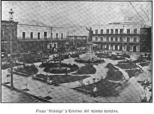 Plaza Hidalgo with Hotel Ancira at the Background