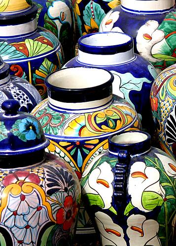 Briliiant & Vibrant Pottery In Talavera , Mexico