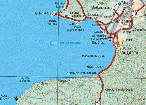 Map of Mexico's Beautiful Bahia de Banderas